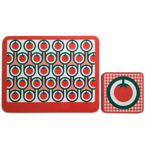 coaster,&,placemat,set,-,Tomatoes,coaster placemat set, tomatoes pattern coaster placemat, graphic design, mother's day gift, housewarming gifts, homeware, tableware, english breakfast