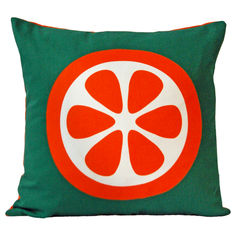 Screen printed cushion cover - Orange - product images 1 of 3