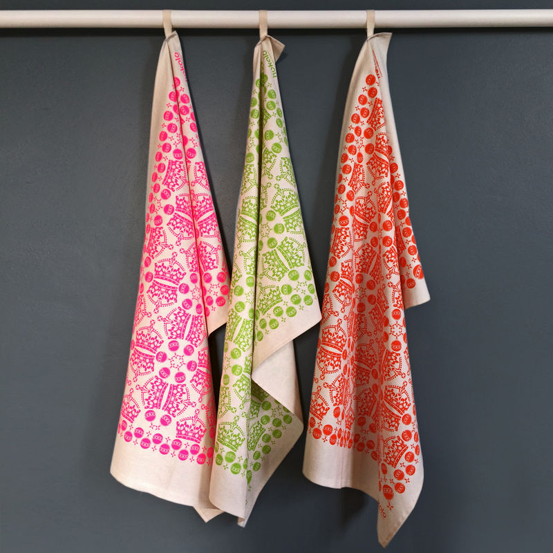 Cotton tea towels - crown orb pattern orange - product image