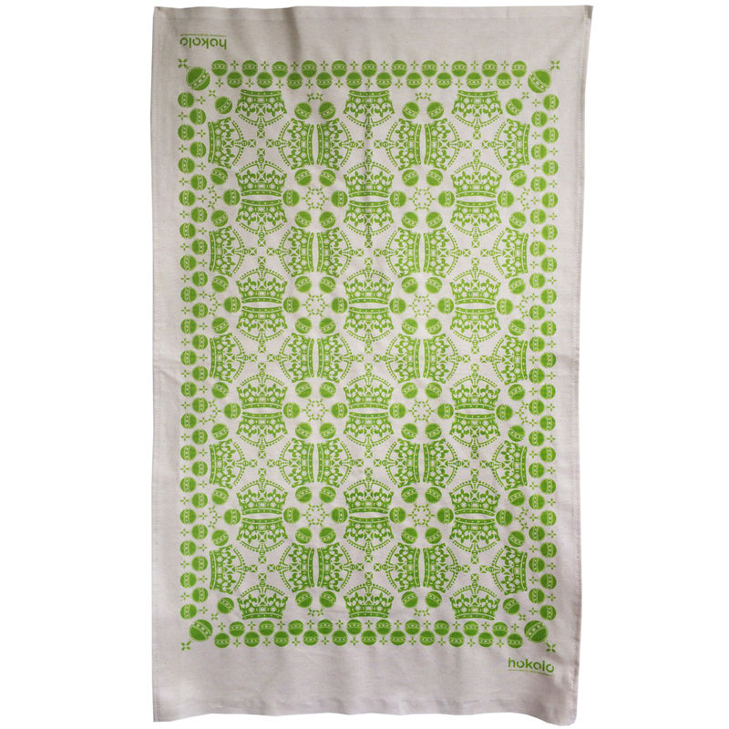 Cotton tea towels - crown orb pattern green - product image