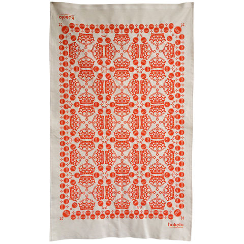 Cotton,tea,towels,-,crown,orb,pattern,orange,unbleached cotton tea towel, natural cotton tea towel, bright colourful tea towel, crown, pattern, sovereign orb, graphic design, mother's day gift, housewarming gifts, dish towel, homeware, kitchen, orange tea towel