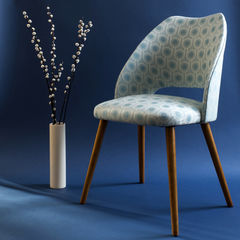 Vintage mid-century cocktail chair upholstered in Benedict Blue fabric - product images 1 of 2