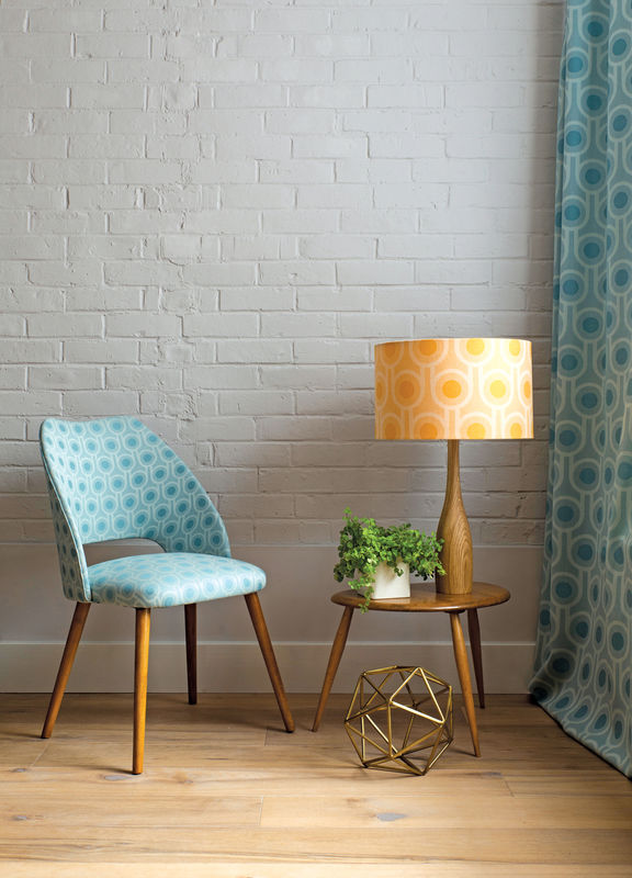 Vintage mid-century cocktail chair upholstered in Benedict Blue fabric - product image