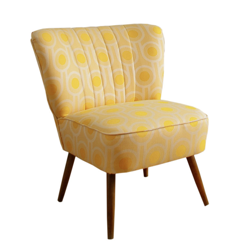 Vintage mid-century cocktail chair upholstered in Benedict Dawn fabric - product image
