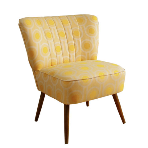 Vintage,mid-century,cocktail,chair,upholstered,in,Benedict,Dawn,fabric,vintage chair, mid-century chair, mid-century modern, upholstered chair, upholstery, interior design, interiors, furniture, yellow chair, gold chair, yellow wool fabric, gold wool fabric, cocktail chair