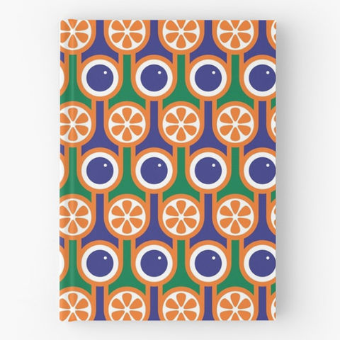 Hardback,notebook,-,Blueberries,and,Oranges,hokolo, hardback notebook, journal, sketchbook, lined notebook, blank notebook, blue notebook, orange notebook, blueberries, blueberry, orange, oranges, english breakfast pattern, geometric pattern notebook