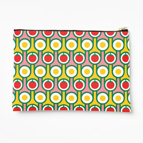 Zipper,pouch,-,Eggs,and,Tomatoes,hokolo, colourful zipper pouch, pattern make up bag, colourful wash bag, pattern cosmetic bag, colourful zipped bag, pencil case, retro purse, colourful bag, geometric pattern bag, red yellow pink bag, english breakfast pattern, retro pattern, midcentury