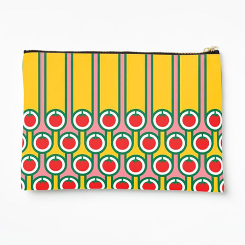 Zipper,pouch,-,Tomatoes,and,stripes,hokolo, colourful zipper pouch, pattern make up bag, colourful wash bag, pattern cosmetic bag, colourful zipped bag, pencil case, retro purse, colourful bag, geometric pattern bag, red yellow pink bag, english breakfast pattern, retro pattern, midcentury