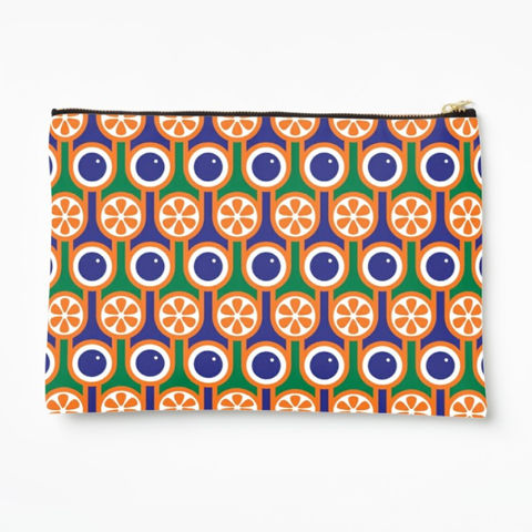 Zipper,pouch,-,Oranges,and,blueberries,hokolo, colourful zipper pouch, pattern make up bag, colourful wash bag, pattern cosmetic bag, colourful zipped bag, pencil case, retro purse, colourful bag, geometric pattern bag, green orange blue bag, english breakfast pattern, retro pattern, midcentur