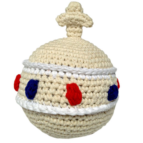 Crochet,orb,rattle,-,cream,royal baby gift, royal baby orb rattle, toy, cream