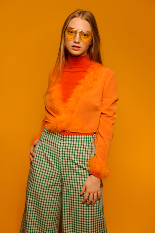 Marabou Wrap Top in Orange - product images  of