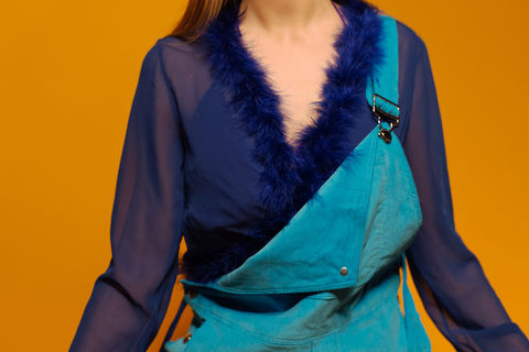 Marabou Wrap Top in Royal - product images  of