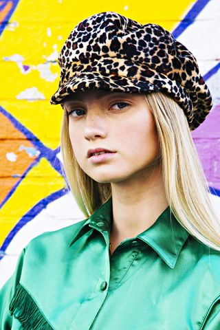 Leopard,Baker,Boy,Hat,leopard print baker boy hat animal festival honey clothing