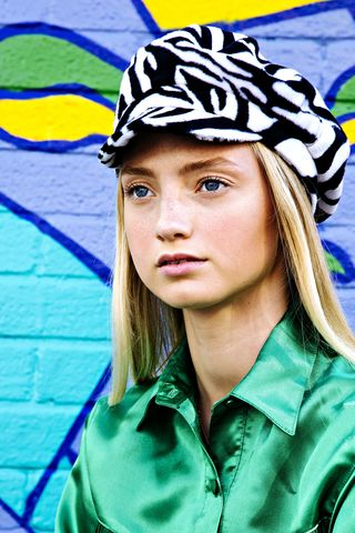 Zebra,Baker,Boy,Hat,zebra print baker boy hat fur animal festival honey clothing