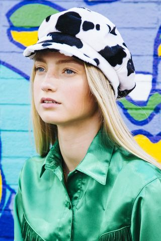 Cow,Print,Baker,Boy,Hat,cow print baker boy hat fur animal festival honey clothing