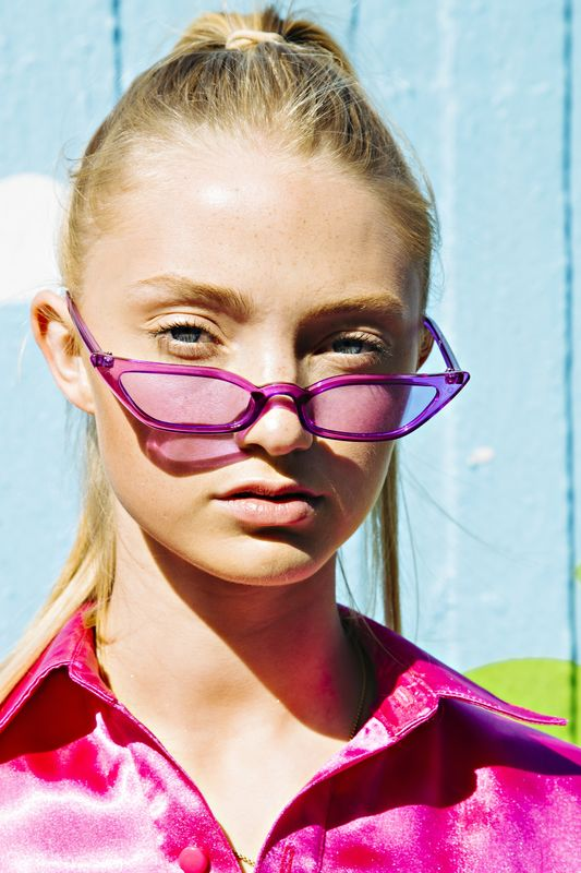 Purple Skinny Cat Eye Sunglasses - product images  of