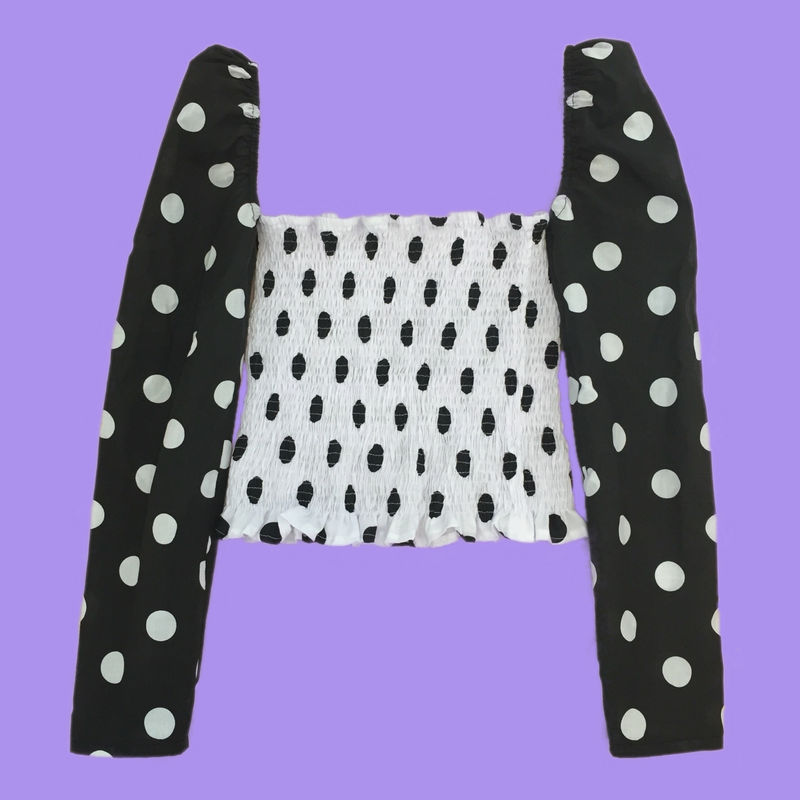 The Romance Top in Black & White Polka - product images  of