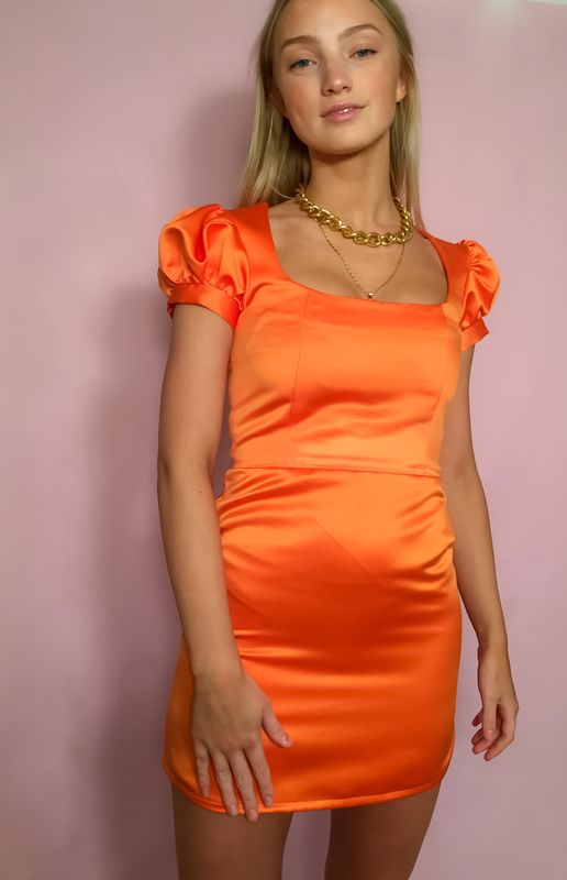 Satin Puff Sleeve Dress - product images  of