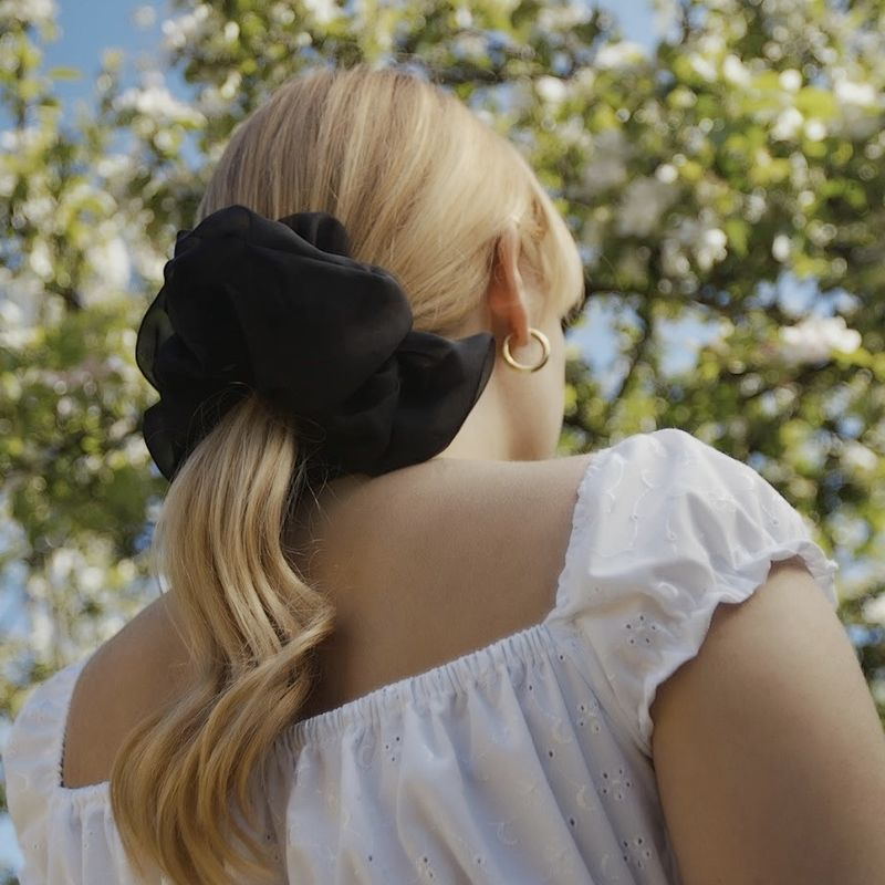 Sheer Black Giant Scrunchie - product images  of