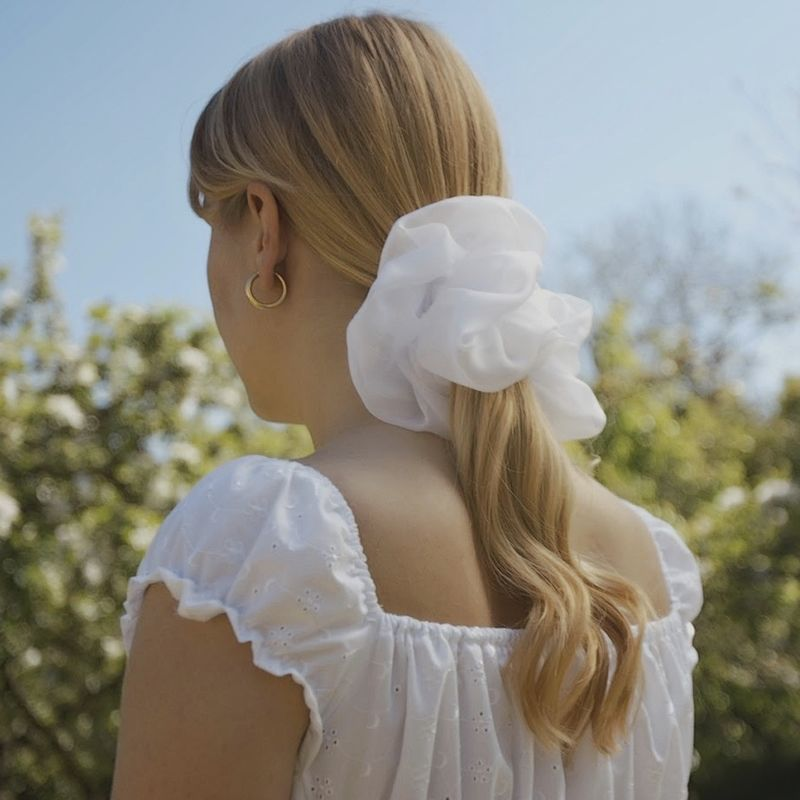 White Giant Scrunchie - product images  of