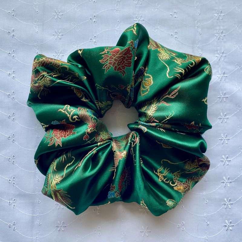 Green Dragon Satin Giant Scrunchie - product images  of