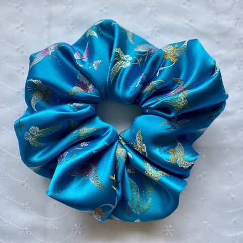 Turquoise Butterfly Satin Giant Scrunchie - product images  of