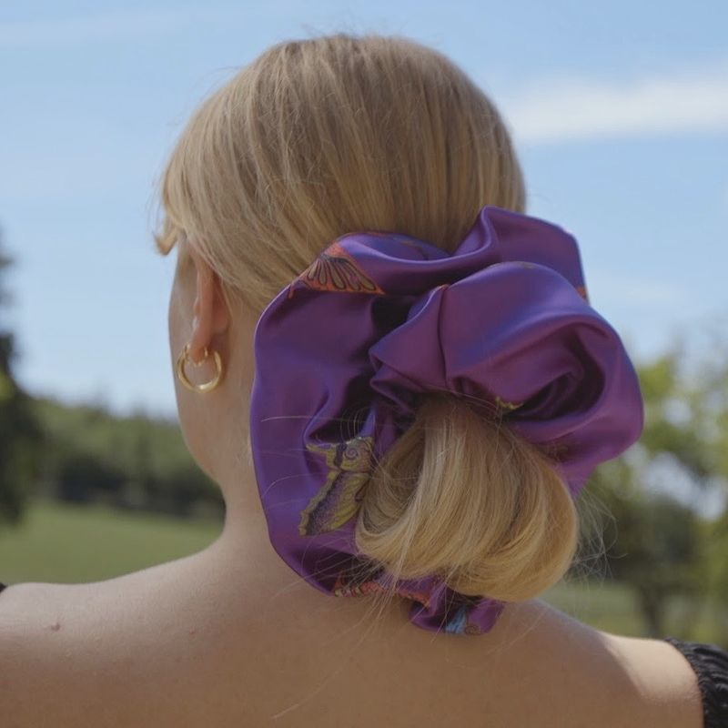 Purple Butterfly Satin Giant Scrunchie - product images  of