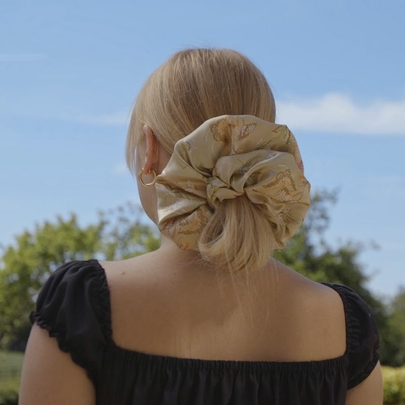 Gold Butterfly Satin Giant Scrunchie - product images  of