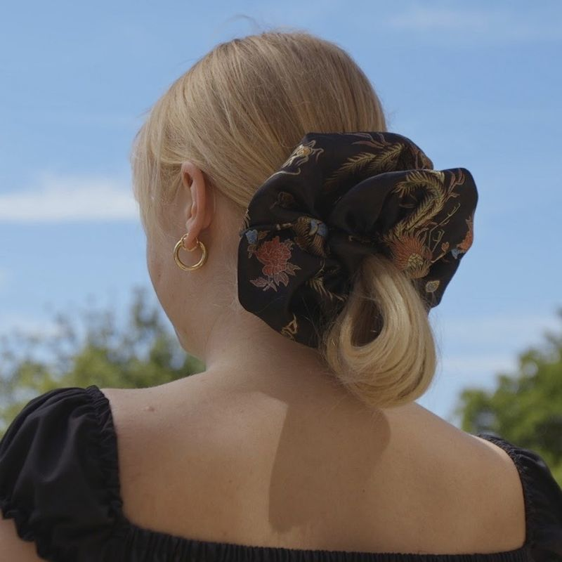 Black Dragon Satin Giant Scrunchie - product images  of