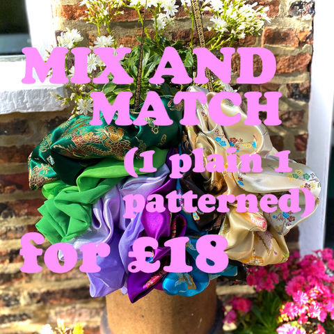 MIX,&,MATCH,,1,Plain,Giant,Scrunchie,+,Patterned,for,£18,scrunchie giant deal offer