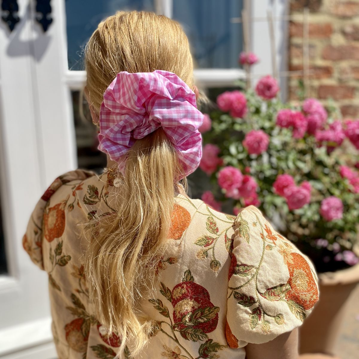 Pink Gingham Giant Scrunchie - product images  of