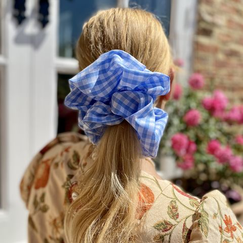 Blue,Gingham,Giant,Scrunchie,giant scrunchie gingham 90s