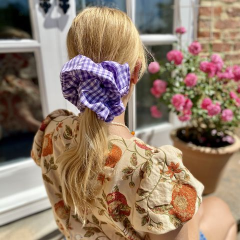 Lilac,Gingham,Giant,Scrunchie,giant scrunchie gingham 90s oversized organza big cloud