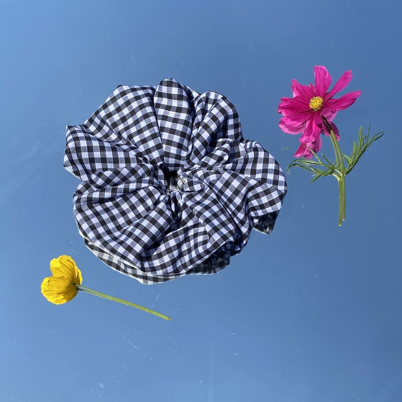 Black Gingham Giant Scrunchie - product images  of