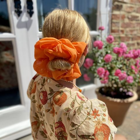 Orange,Giant,Scrunchie,giant scrunchie 90s cloud organza sheer oversized big