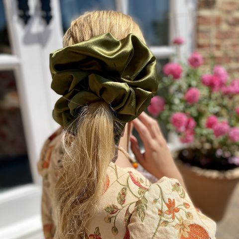 Dark,Olive,Giant,Scrunchie,giant scrunchie 90s cloud organza sheer oversized big satin silk