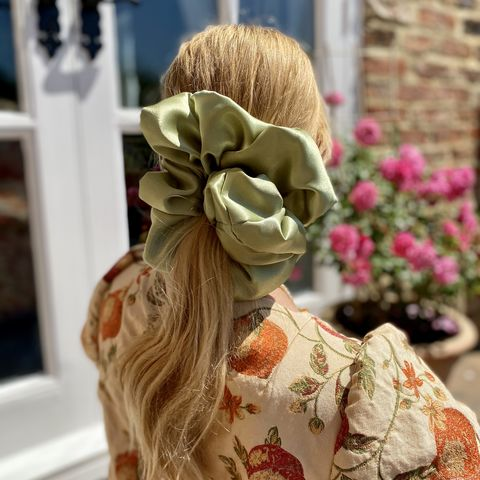 Light,Olive,Satin,Giant,Scrunchie,giant scrunchie 90s cloud organza sheer oversized big satin silk