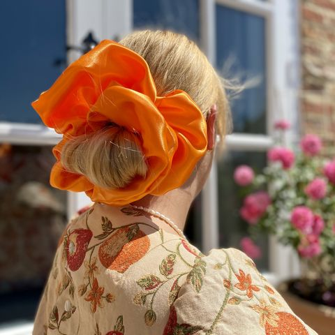 Orange,Satin,Giant,Scrunchie,giant scrunchie 90s cloud organza sheer oversized big satin silk