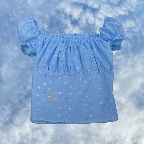 Blue,Broderie,Anglaise,Milkmaid,Top,Top milkmaid gingham shirred yellow broderie anglaise