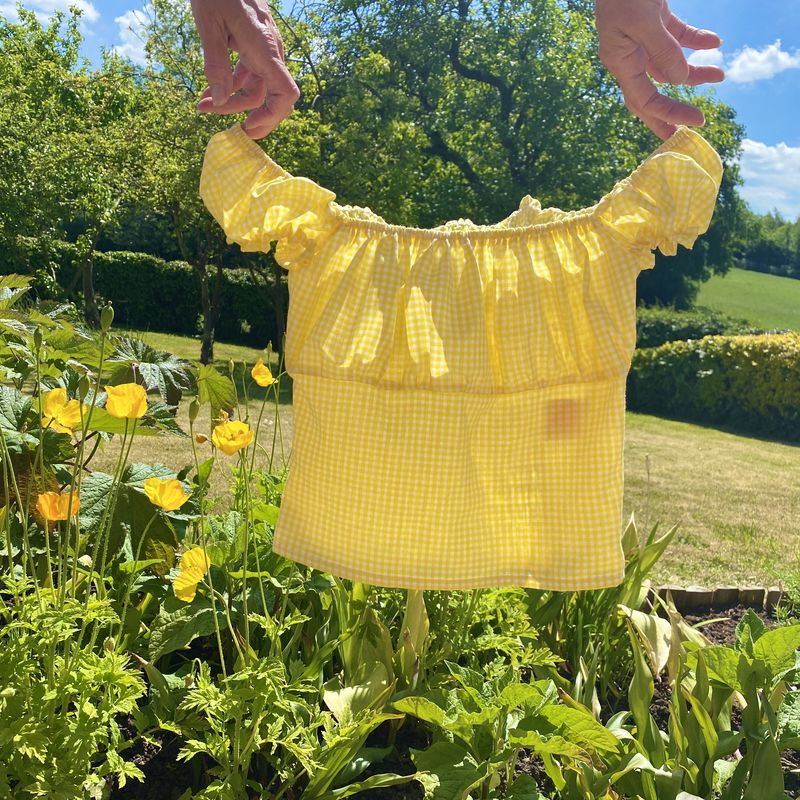 Yellow Gingham Milkmaid Top - product images  of
