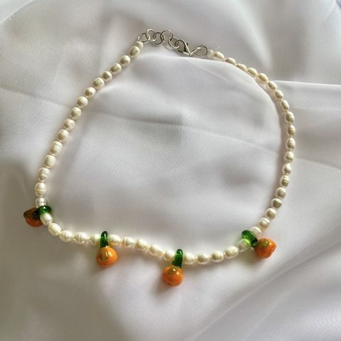 Oranges,&,Pearls,Choker,beaded bead pearl orange fruit vintage choker necklace