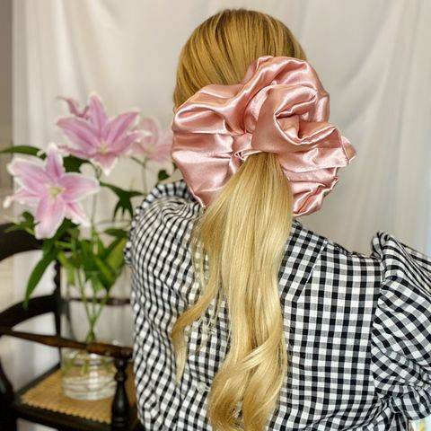 Blush,Pink,Satin,Giant,Scrunchie,giant scrunchie 90s cloud organza sheer oversized big satin silk