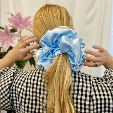 Baby,Blue,Satin,Giant,Scrunchie,giant scrunchie 90s cloud organza sheer oversized big satin silk