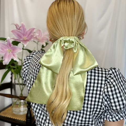 Light,Olive,Giant,Bow,giant scrunchie 90s cloud organza sheer oversized big satin silk bow