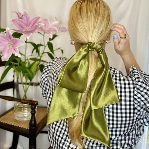 Dark,Olive,Giant,Bow,giant scrunchie 90s cloud organza sheer oversized big satin silk bow