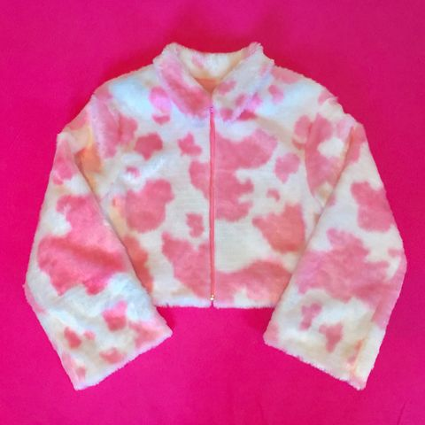 Pink,Cow,Fur,Bomber,cow print jacket bomber fur faux festival honey clothing lilac pink