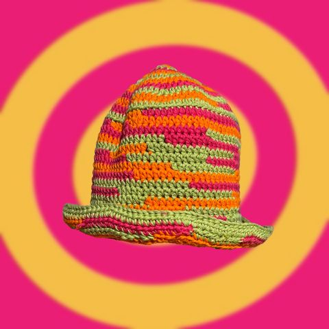 Fruit,Salad,Crochet,Bucket,Hat,Crochet yin yang bucket hat cotton fruit salad colourful