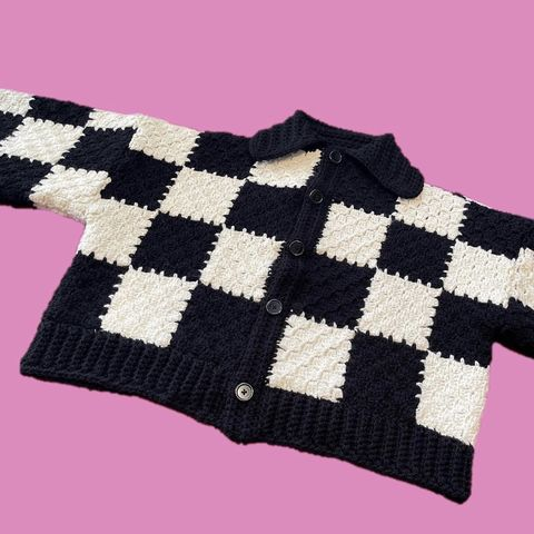 Number,2,Upcyled cardigan harry styles oversized colourful patchwork rainbow checkerboard monochrome black and white