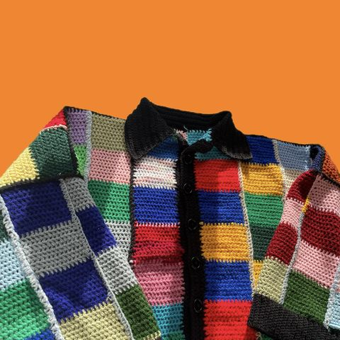 Number,1,Upcyled cardigan harry styles oversized colourful patchwork rainbow