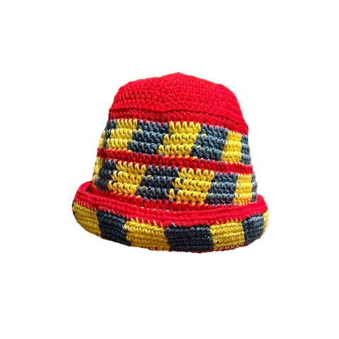 Play,Skool,Hat,Crochet yin yang bucket hat cotton check checkerboard